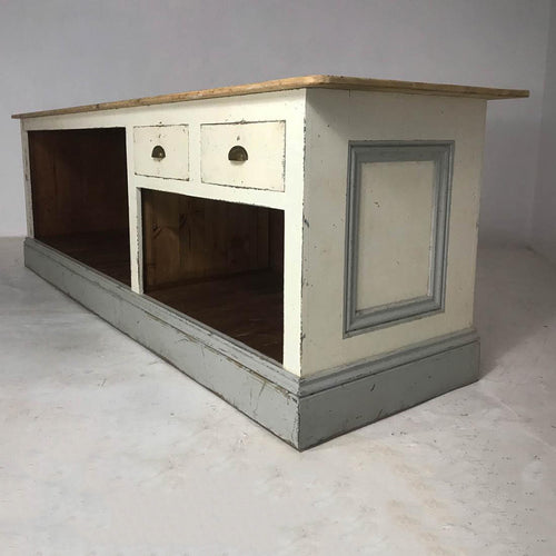 Vintage Style Painted Pine Shop Counter / Kitchen Island