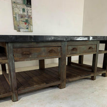 Load image into Gallery viewer, 20th Century Vintage Industrial Zinc Top Carpenter's Workbench Kitchen Island