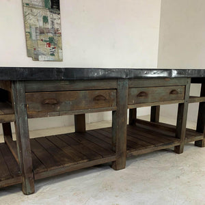 20th Century Vintage Industrial Zinc Top Carpenter's Workbench Kitchen Island