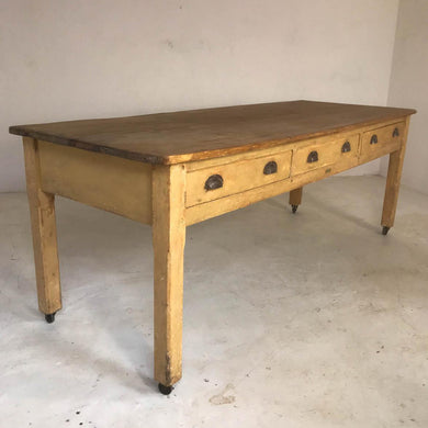 20th Century Pine Baker's Table / Kitchen Table / Farmhouse Dining Table