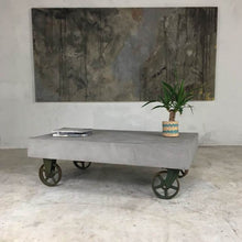 Load image into Gallery viewer, 21st Century Vintage Industrial Concrete Coffee Table on Wheels