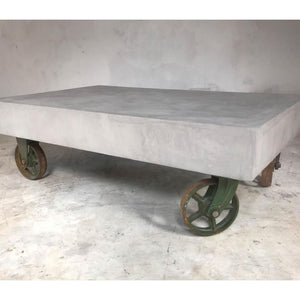 21st Century Vintage Industrial Concrete Coffee Table on Wheels