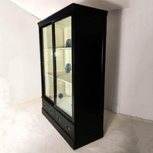 Load image into Gallery viewer, 19th Century Victorian Pine Black Display Cabinet Cupboard Bookcase