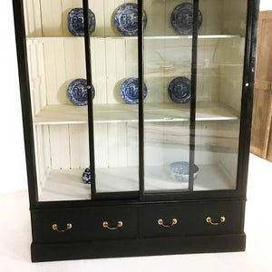 19th Century Victorian Pine Black Display Cabinet Cupboard Bookcase