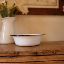Load image into Gallery viewer, Vintage Blue & Creamy White Enamel Bowl