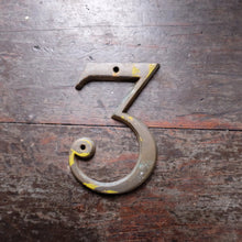 Load image into Gallery viewer, Vintage Metal Door Number - number 3