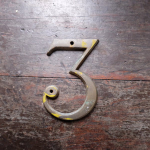 Vintage Metal Door Number - number 3