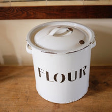 Load image into Gallery viewer, Vintage Black & White Enamel Flour Bin