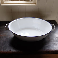 Load image into Gallery viewer, Vintage Blue & White Enamel Bath/Bowl With Handles