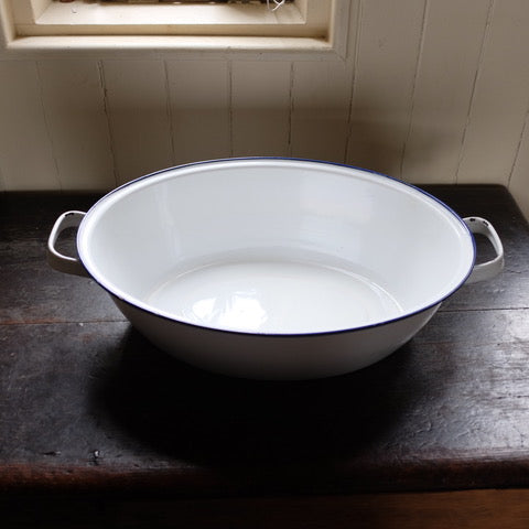 Vintage Blue & White Enamel Bath/Bowl With Handles
