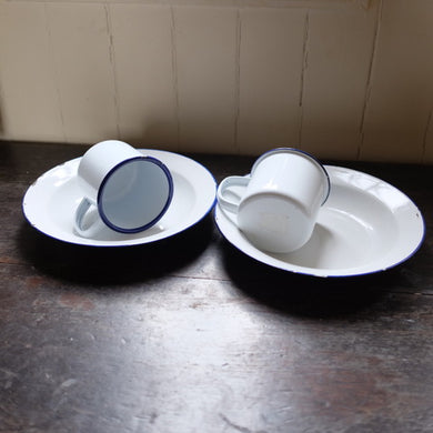 Vintage Blue & White Enamel Cups And Bowls