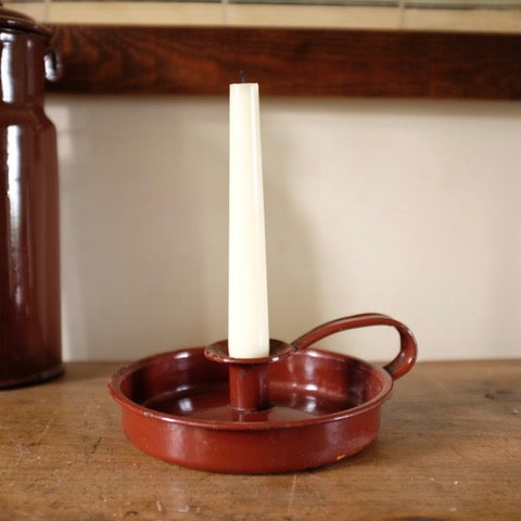 Vintage Enamel Chamberstick Candle Stick