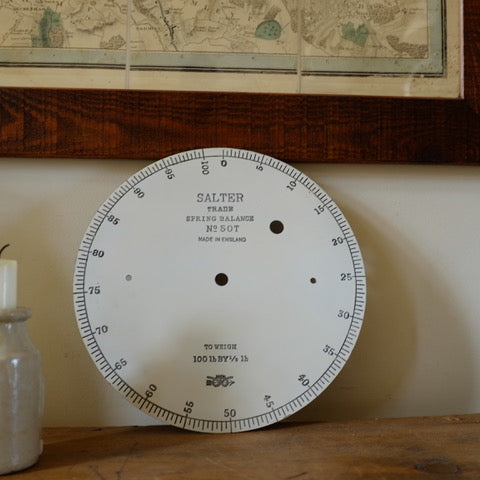 Vintage Large Enamel Salter Dial From Weighing Scales