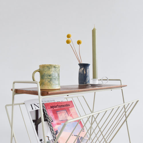 Vintage Off White / Cream Wire Atomic Magazine Rack / Occasional Table with Wooden Shelf