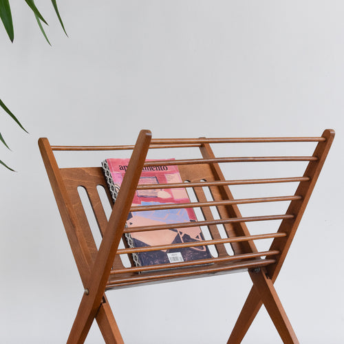 Vintage Mid 20th Century Wooden Folding Magazine Rack