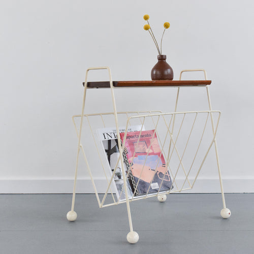 Vintage White Wire Atomic Magazine Rack / Occasional Table with Wooden Shelf