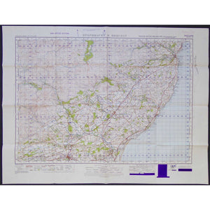 War Office Vintage OS Map - Scotland - Stonehaven & Brechin