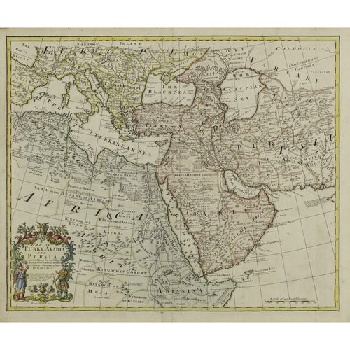 Map of Turkey, Arabia and Persia 1721 - Guillaume DeL'isle (1675-1726)