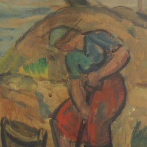 Mid-century Painting, 'Clam Digging' Karl Enock Ohlsson