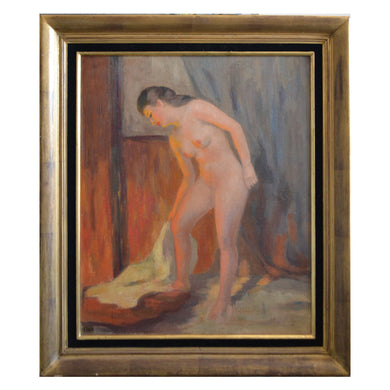 Mid-century, Paris Oil Painting, 'La Baigneuse'