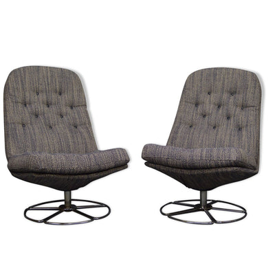 Mid Century Vintage Bruno Mathsson Style 1960s Swivel Chairs