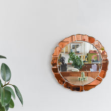 Load image into Gallery viewer, Vintage Art Deco Style 1950s Frameless Round Mirror with Coloured Peach / Rose Gold Sections
