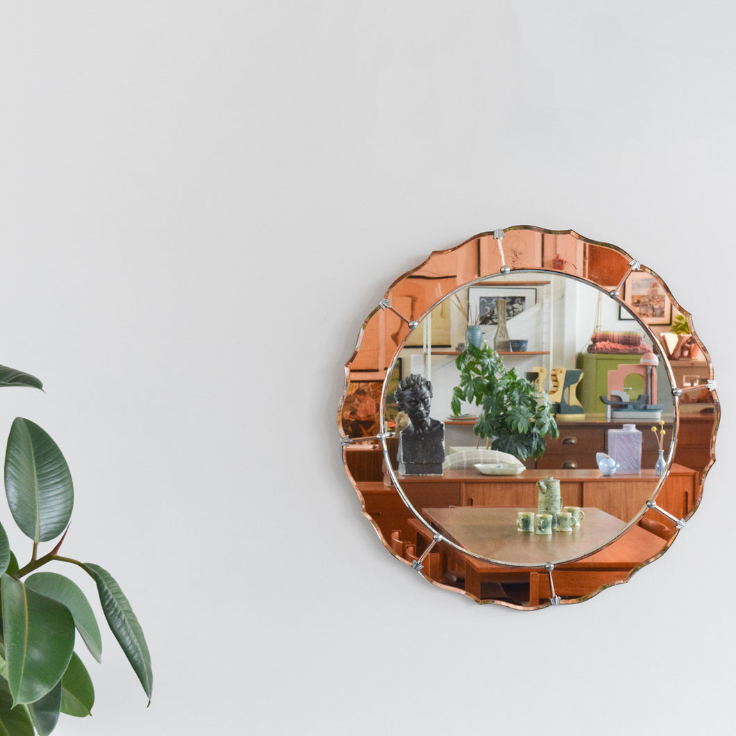 Vintage Art Deco Style 1950s Frameless Round Mirror with Coloured Peach / Rose Gold Sections