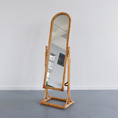 Vintage Free Standing Bamboo Cheval Mirror