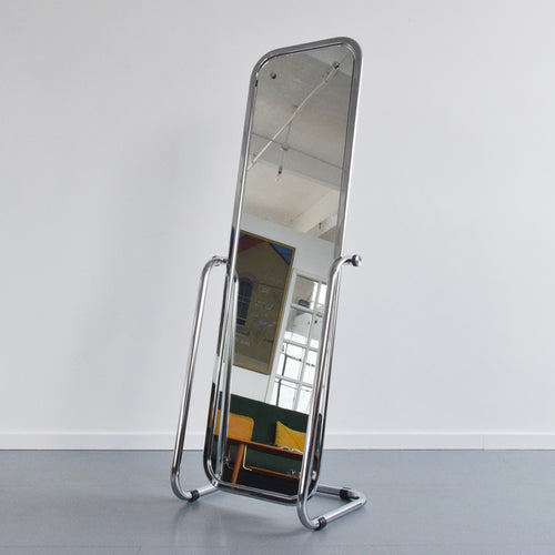 Vintage Free Standing Chrome Cheval Mirror