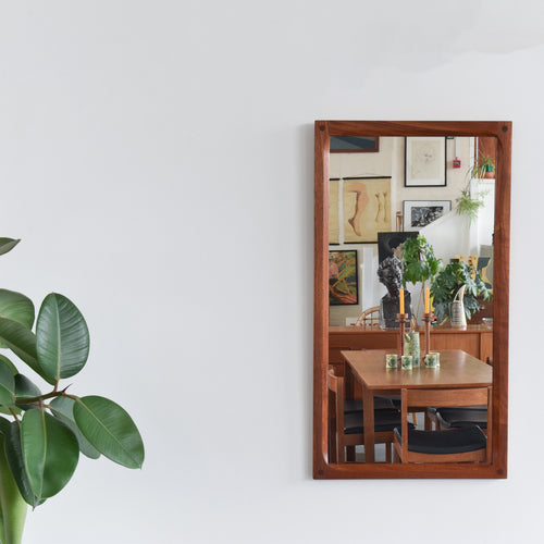 Vintage Long Rectangular Danish Teak Mirror by Aksel Kjersgaard No.163