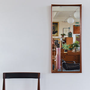 Vintage Long Danish Teak Mirror with Curved Frame