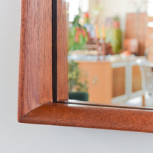 Load image into Gallery viewer, Vintage Long Danish Teak Mirror with Curved Frame