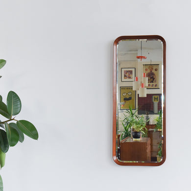 Vintage Long Teak Bevelled Mirror with Deep Curved Frame