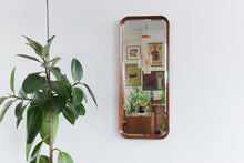 Load image into Gallery viewer, Vintage Long Teak Bevelled Mirror with Deep Curved Frame