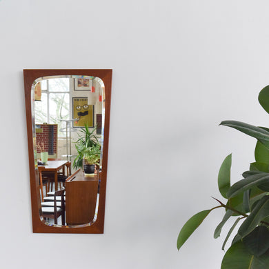 Vintage Danish Stamped Teak Mirror