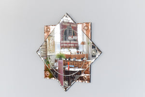 Vintage Art Deco Style Frameless Mirror with Coloured Peach / Rose Gold Sections and Floral Cut Glass