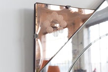 Load image into Gallery viewer, Vintage Art Deco Style Frameless Mirror with Coloured Peach / Rose Gold Sections and Floral Cut Glass