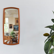 Load image into Gallery viewer, Vintage Long Teak Mirror with Curved Frame