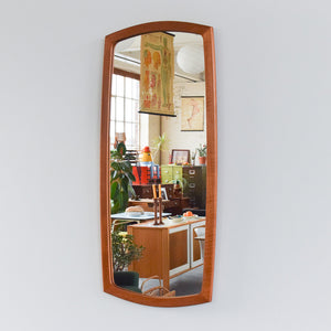 Vintage Long Teak Mirror with Curved Frame