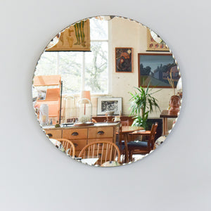 Vintage Circular / Round Frameless Scollop Bevelled Wall Mirror