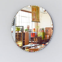 Load image into Gallery viewer, Vintage Circular / Round Frameless Scollop Bevelled Wall Mirror