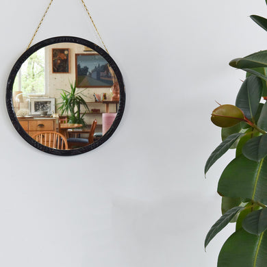 Vintage Small Round Black Moulded Wooden Mirror