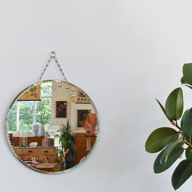 Vintage Circular / Round Frameless Bevelled Wall Mirror with Floral Cut Glass