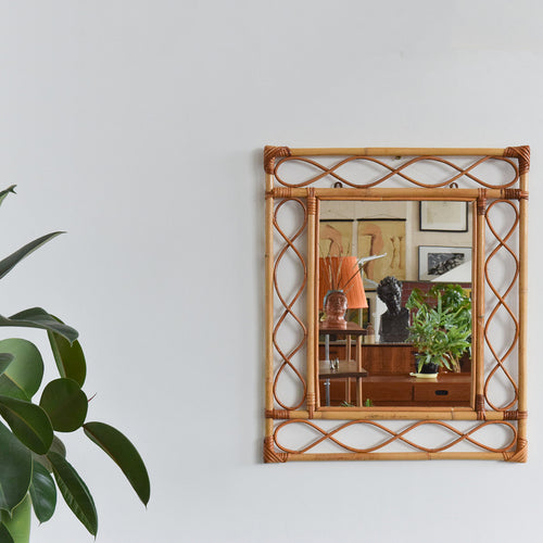 Vintage Rectangular Bamboo Wicker Rattan Mirror