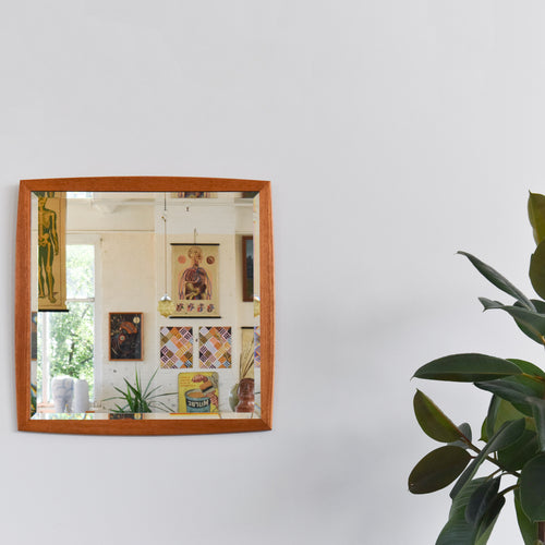 Vintage Square Teak Framed Mirror