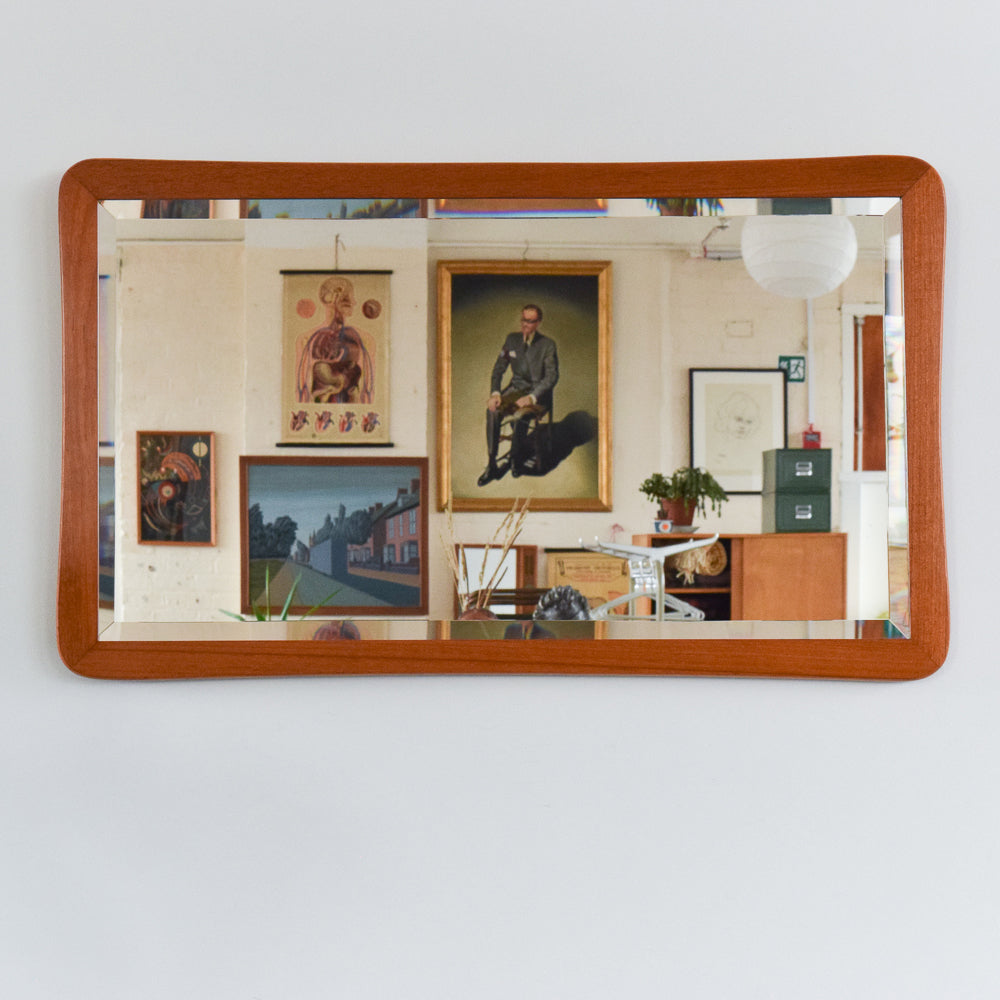 Vintage Teak Rectangular Wall Mirror with Curved Frame