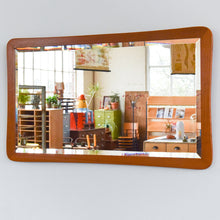 Load image into Gallery viewer, Vintage Teak Rectangular Wall Mirror with Curved Frame