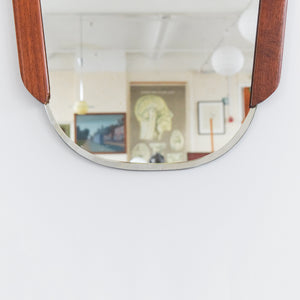 Vintage 1960s Small Teak Wall Mirror
