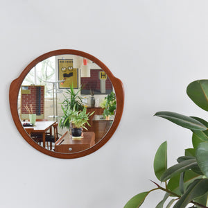 Vintage 1960s Round Wall Mirror with Shaped Teak Frame