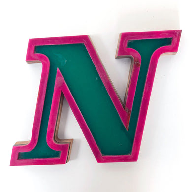N - Medium Factory Shop Letter Ply Wood & Perspex Green & Pink